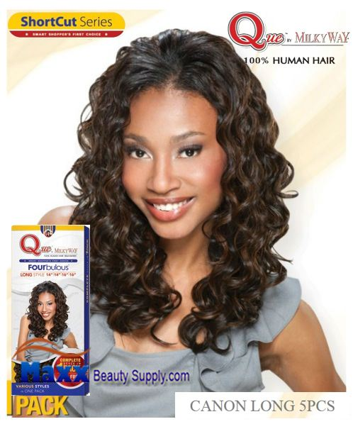 MilkyWay Que Human Hair Weave Short Cut Series - Canon Long 5pcs